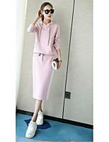 Women's Casual Simple Casual Winter Hoodie Skirt Suits,Solid Hooded Long Sleeve