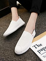 Men's Loafers & Slip-Ons Comfort Tulle PU Spring Casual Comfort White Black Brown Flat