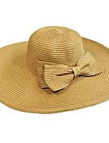 Для женщин Винтаж Очаровательный Для вечеринки Для офиса На каждый день Соломенная шляпа Шляпа от солнца Солома Однотонный