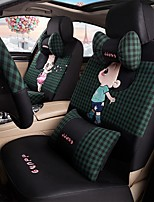 Car Seat Cushion Car Ceat Cushion Cets Of Family Car Cartoon Cute Ice Silk Cloth Material Black Green Plaid-208