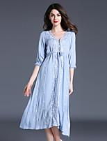 Ample Robe Femme Vintage Chic de Rue Sophistiqué,Mosaïque Col en V Asymétrique Manches ¾ Lin Polyester Toutes les Saisons Taille Normale