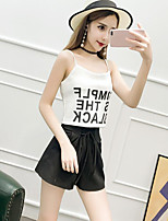 Women's Casual/Daily Simple Summer Tank Top,Letter Strap Sleeveless Cotton
