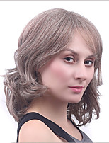 Short Culry Heat Resistant Synthetic Wig for European and American Ladies Brown Color