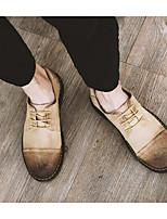 Men's Sneakers Comfort Cowhide Spring Casual Black Gray Yellow Flat