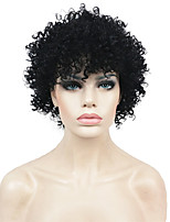 Short Black Kinky Curly Synthetic Hair African American Wig Wigs for Black Women