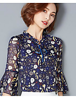 Women's Casual/Daily Simple Summer Blouse,Print Round Neck ¾ Sleeve Cotton Thin