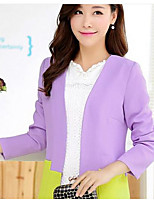 Women's Work Sophisticated Spring Suit,Solid Stand Long Sleeve Regular Cotton