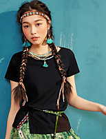 Damen Solide Einfach Normal T-shirt,Rundhalsausschnitt Sommer Kurzarm Baumwollmischung Dünn