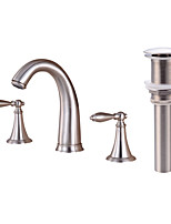 Contemporary Widespread Clawfoot with  Brass Valve Two Handles Three Holes for  Nickel Brushed , Bathroom Sink Faucet