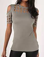 Women's Casual/Daily Simple Summer T-shirt,Solid Round Neck Short Sleeve Polyester Medium