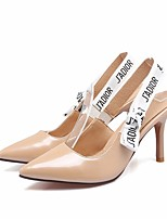Women's Heels Slingback PU Summer Dress Slingback Chunky Heel Almond Black White 3in-3 3/4in