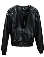 Women's Leather Jacket Round Neck Long Sleeve