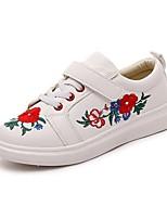 Boy's Sneakers Flower Vintage Microfibre Autumn/Fall Summer Athletic Sport Casual Walking Hook & Loop Flat Heel Black White Under 1in