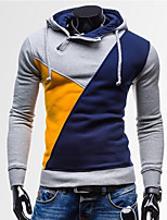 Men's Daily Hoodie Color Block Hooded Micro-elastic Cotton Long Sleeve Spring Fall