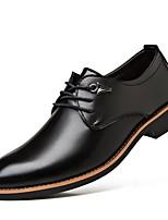 Men's Oxfords Comfort Cowhide Spring Fall Outdoor Comfort Low Heel Black Brown Flat