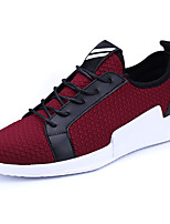 Men's Sneakers Comfort Light Soles PU Spring/Fall Casual Outdoor Comfort Light Soles Lace-up Flat Heel Ruby Gray Black Flat