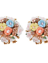 Stud Earrings Women's Girls' Bohemian Elegant Round Flower Rhinestone Earrings Movie Party Daily Casual Jewelry