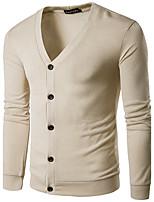Men's Casual/Daily Simple Regular Cardigan,Solid V Neck Long Sleeve Cotton Spring Fall Medium Micro-elastic