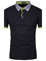Men's Office/Career Athletic Casual Simple Active Summer Fall PoloColor Block Shirt Collar Short Sleeve Cotton Modal Opaque Medium 916690-1