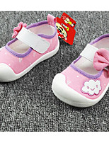 Girls' Flats First Walkers Cotton Fabric Spring Fall Casual Walking First Walkers Magic Tape Low Heel Light Blue Blushing Pink Flat