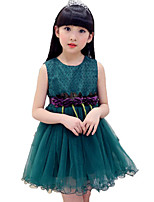 Girl's Print Lace Flower Dress,Cotton Polyester Summer Sleeveless