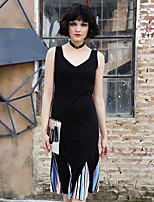 IKWomen's Casual/Daily Loose DressSolid Strap Midi Slings Polyester Summer High Rise Micro-elastic Thin