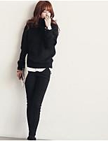 Normal Cardigan Femme Sortie SoiréeCouleur Pleine Col Arrondi Manches Longues Autres Hiver Moyen Micro-élastique