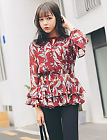 Women's Going out Casual/Daily Chiffon Dress,Print Round Neck Mini Long Sleeve Cotton Spring Summer Mid Rise Inelastic Thin