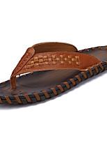 Men's Sandals PU Spring Summer Low Heel White Black Dark Brown Under 1in