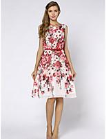 Для женщин Изысканный Прямое Платье Цветочный принт,Круглый вырез До колена С короткими рукавами Полиэстер Лето С высокой талией