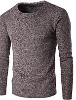 Для мужчин На каждый день Обычный Пуловер Однотонный,Круглый вырез Длинный рукав Нейлон Весна Средняя Слабоэластичная