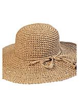 Унисекс Винтаж Очаровательный Для вечеринки Для офиса На каждый день Соломенная шляпа Шляпа от солнца Солома Однотонный