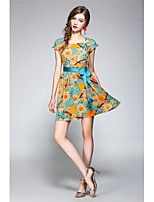 NEDO Women's Going out Party Holiday Cute Street chic Sophisticated A Line Chiffon DressFloral Round Neck Above Knee Short Sleeve NylonSpring