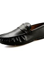 Для мужчин Туфли на шнуровке Мокасины Полиуретан Весна Осень Для прогулок На плоской подошве Черный Серый Коричневый Менее 2,5 см