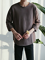 Men's Daily Sweatshirt Solid Round Neck Inelastic Cotton Long Sleeve Spring Fall
