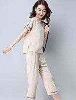 Women's Casual/Daily Simple Shirt Pant Suits,Solid Round Neck Short Sleeve Micro-elastic