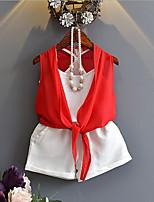 Ensembles Fille Couleur unie Coton Polyester Eté Printemps Sans Manches Ensemble de Vêtements