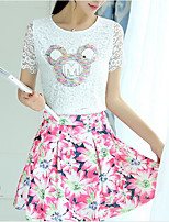 Women's Casual/Daily Simple Shirt Skirt Suits,Solid Round Neck Short Sleeve Micro-elastic