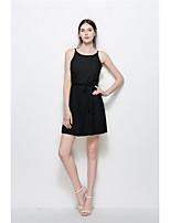 Women's Casual/Daily Beach Holiday Simple Cute A Line Dress,Solid Round Neck Mini Sleeveless Chiffon Summer Mid Rise Inelastic Medium