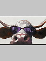 Hand-Painted Wear Glasses Of Cattle Animal Oil Paintings On Canvas Modern Abstract Wall Art Picture For Home Decoration Ready To Hang