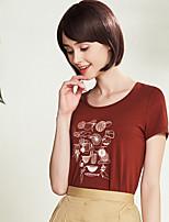 Tee-shirt Femme,Imprimé Décontracté simple Manches Courtes Col Arrondi Coton