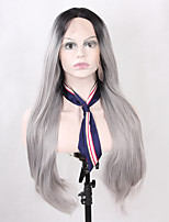 Natural Long Straight Fashion Realistic Ombre 2 Tones Black Grey Synthetic Lace Front Wigs Heat Resistant Half Hand Tied Fiber Hair for Women
