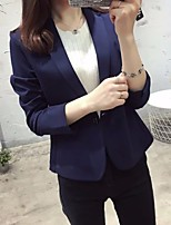 Women's Casual/Daily Simple Spring Blazer,Solid Notch Lapel Long Sleeve Short Cotton Polyester
