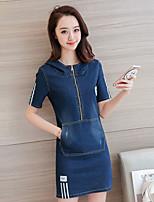 Damen Jeansstoff Kleid-Ausgehen Lässig/Alltäglich Solide Rundhalsausschnitt Mini Kurzarm Polyester Sommer Mittlere Hüfthöhe