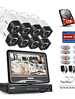 SANNCE® 8CH 8PCS 720P Weatherproof Security System with 4IN1 1080P LCD DVR Supported TVI Analog AHD IP Cameras & 1TB HD
