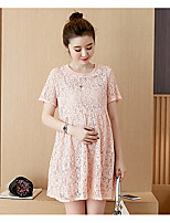 Women's Going out Casual/Daily Loose Dress,Solid Round Neck Mini Short Sleeve Others Summer Mid Rise Inelastic Medium