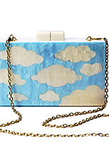 L.WEST Women's Handmade The Blue Sky White Clouds Acrylic Evening Bag