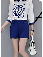 Women's Going out Casual/Daily Simple Summer T-shirt Pant Suits,Print Shirt Collar 3/4 Length Sleeve