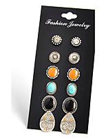 Stud Earrings AAA Cubic Zirconia Basic Flower Style Handmade Fashion Vintage Bohemian Personalized DIY Zircon Alloy Round Flower Drop