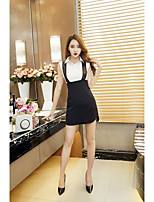 Women's Party/Cocktail Sexy Spring Shirt Dress Suits,Solid Shirt Collar Sleeveless